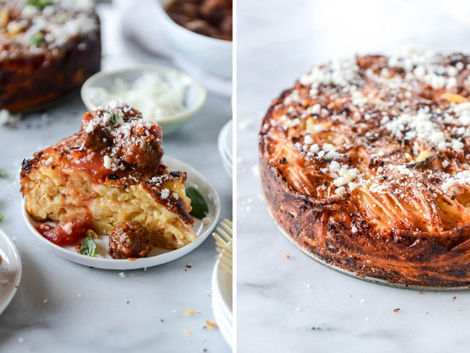 cheesy bucatini pie with mini meatballs howsweetitis